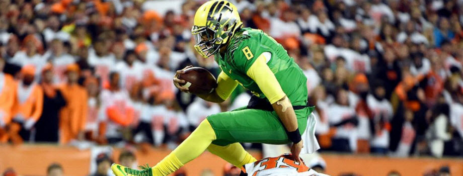 Marcus Mariota does the Heisman Leap at 2014 OSU game